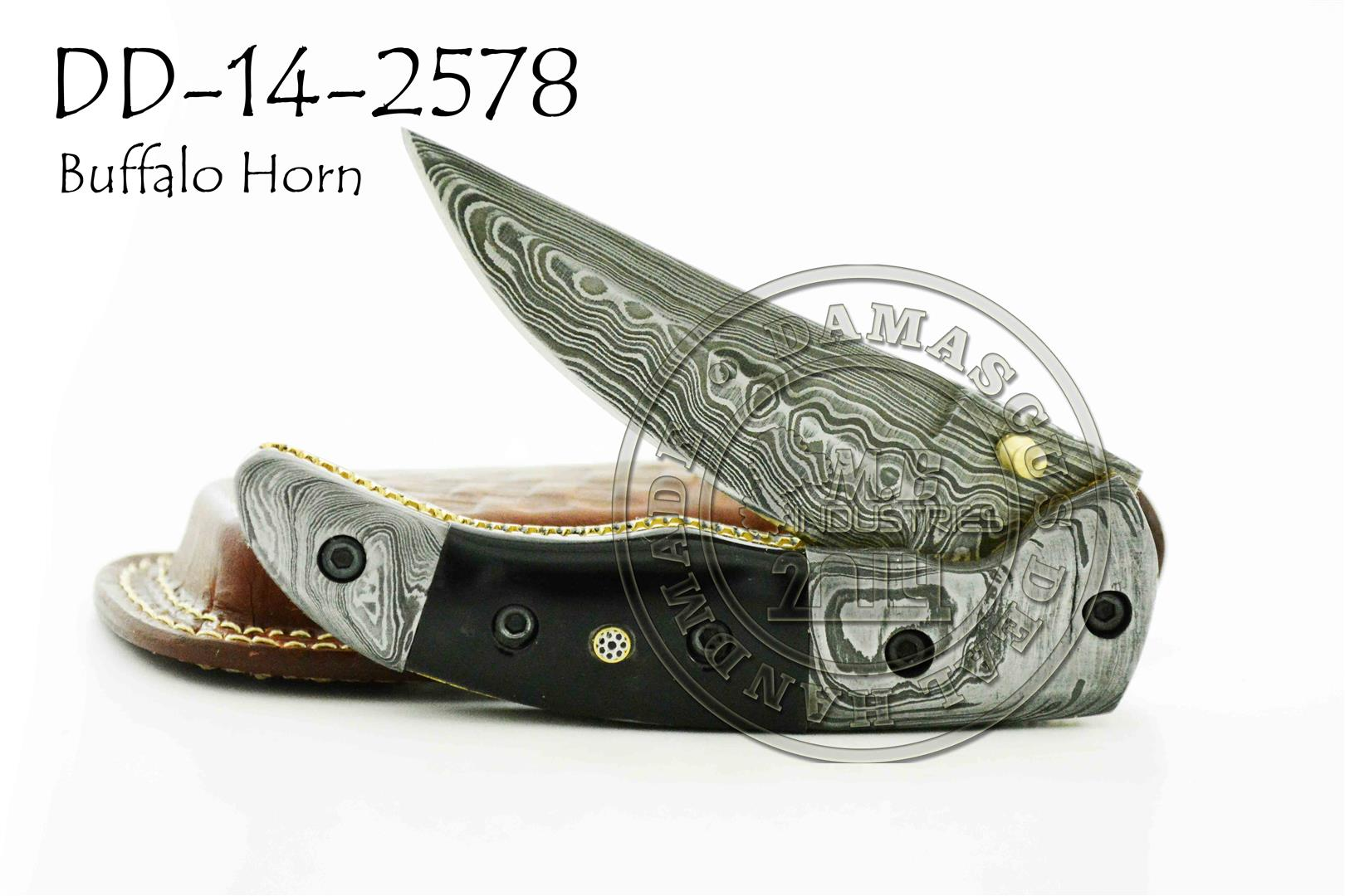 Damascus Steel Folding Knife DD-14-2573