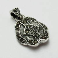 Marcasite !! Love 's Success !! Black CZ 925 Sterling Silver Pendant, Handmade Silver Jewellery, Gemstone Silver Jewelry