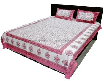 Promotional High Quality Flower Design Cheap Indian Cotton Hotel Bedsheet  Duvet Cover Set/massage Bed