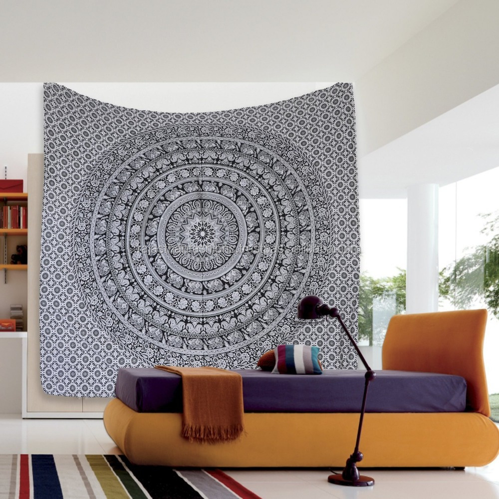 Elephant Indian Mandala Tapestry Wall Hanging Decor Large Cotton Throw Home Decor Tapestry