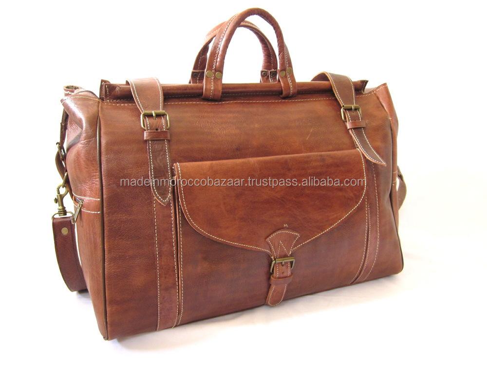 20debfbfe4 Vintage Moroccan Handmade Genuine Leather Holdall Weekend Travel Bag ...