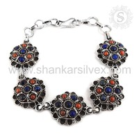 Spectacular Lapis, Coral Gemstone Bracelet 925 Sterling Silver Jewelry Handmade Jaipur Online Jewelry