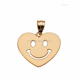 14k Yellow Gold Plain Smiling Face Emoji Pendant Heart Charm - Buy 14k  Yellow Gold Plain Smiling Face Emoji Pendant Heart Charm,Emoji  Pendant,Heart