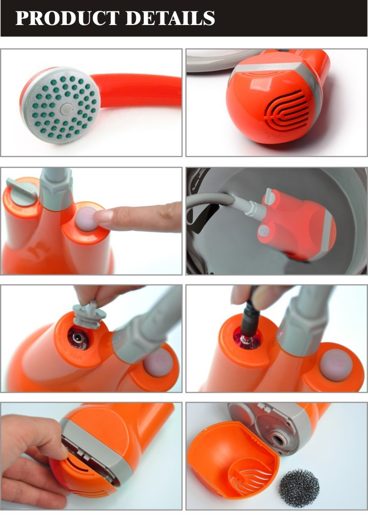 OEM Camping & Hiking tools mini Shower with hand sprayer & Rechargeable Battery Powered shower