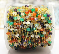 Mix Stone 7-8mm Roundel Faceted Beaded Gold Plated Wire Wrapped Rosary Chain