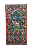ONE OF KIND MARVELOUS KRISHNA RAAS LEELA HAND CARVED HAND PAINTED INDIAN ANTIQUE WOODEN WALL DOOR DECORATIVE PANEL