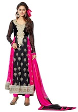 Excellent Black And Pink Color Micro Velvet Semi-Stitched Designer Long Anarkali Suit