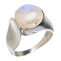 Natural rainbow blue fire moonstone Free Style ring 92.5 sterling silver