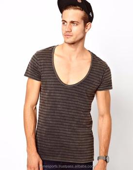 277bde5f Wholesale custom Deep Neck T shirts - Plain Skin Tight cotton V neck t shirt  Men