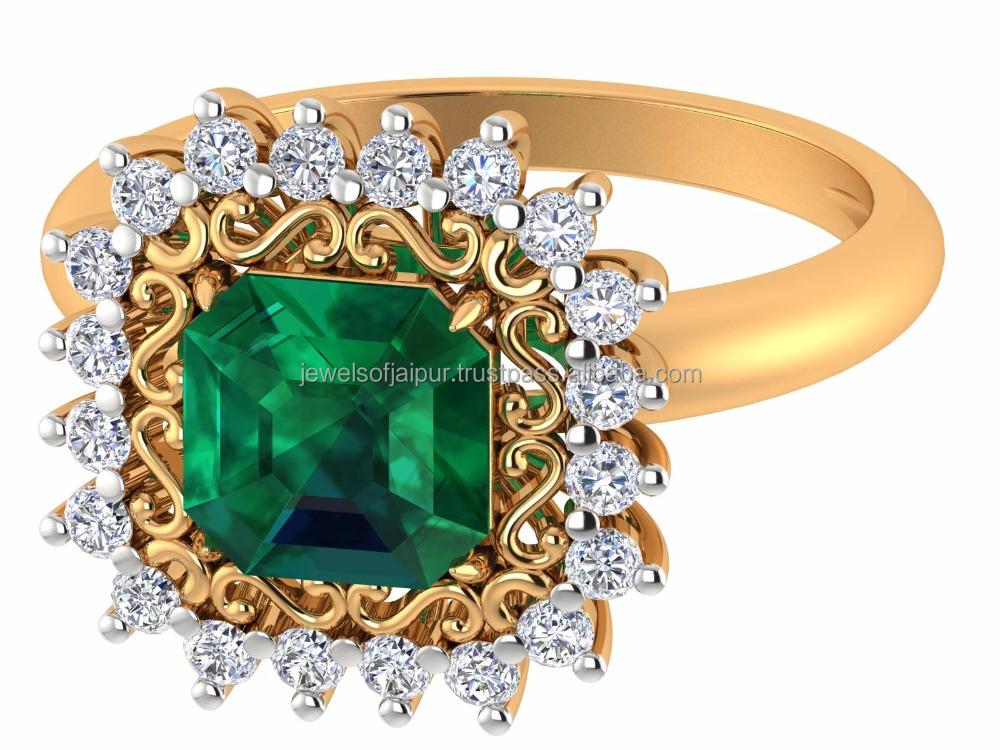 Favori 14 k Or Jaune Naturel Vert Émeraude Pierre Anneau Bague en Diamant  SD27