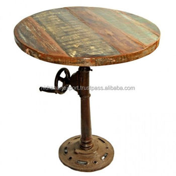 industrial reclaimed wood dining table. industrial \u0026 vintage cast iron metal reclaimed wood round dining table t