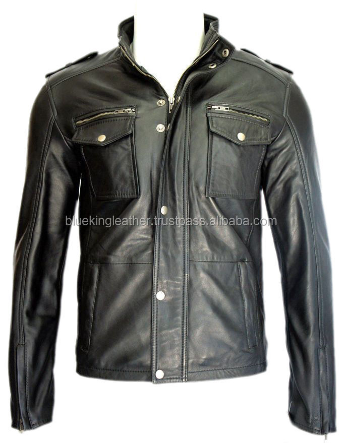 American Style Fine 100% Lamb Napa Black Leather Jacket for men