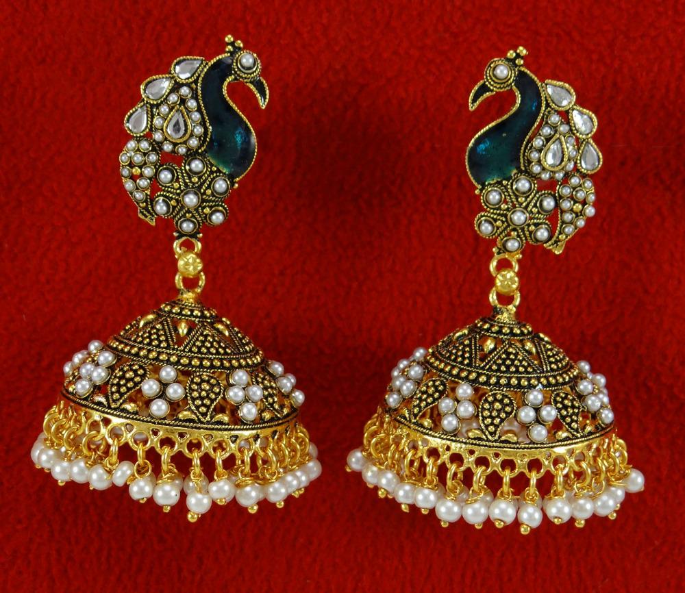 Goldtone Ethnic Traditional Peacock Design Jhumka Jhumki Earring ...