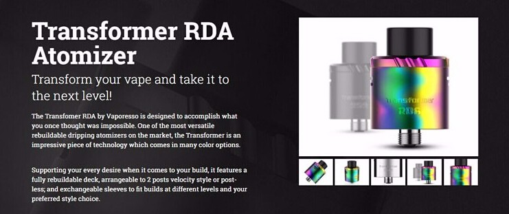 Upgradeable 2016 100% original Vaporesso Transformer RDA Atomizer