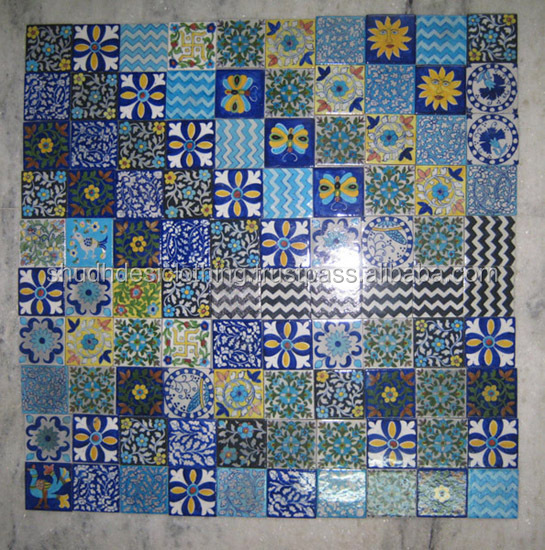 Kitchen Tiles Handmade wholesale lot of assorted blue pottery tiles jaipuri handmade
