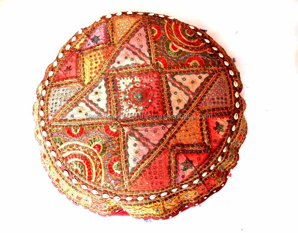 "Wholesale 18"" Handmade Round Ottoman Pouf Stool Chair Tapestry Moroccan Pouf India"
