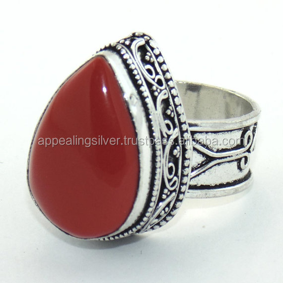 Handmade oxidized and natural red coral beautiful cabochon silver ring