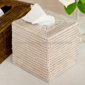 Delicate Rattan Tissue Box Holder Cover Whitewashed Color
