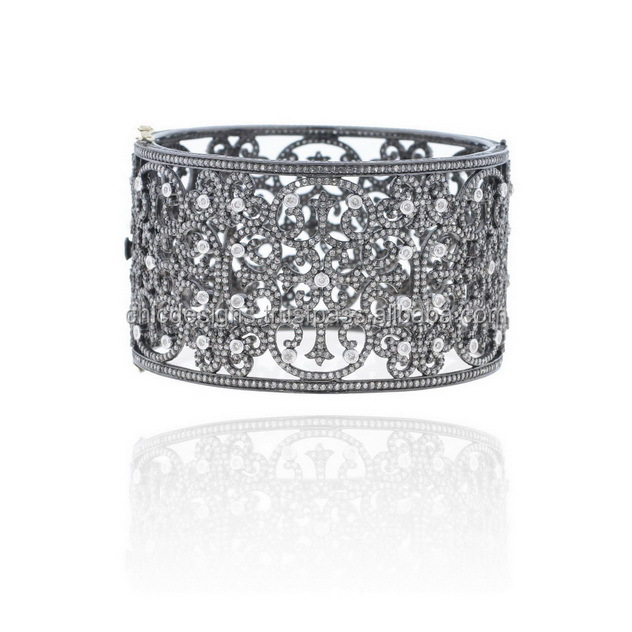 Filigree Wedding Pave Diamond Bangle New Designer 925 Silver Jewelry