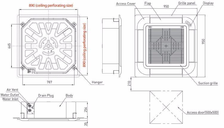 High Quality Korean Fan Coil Unit 4 Way Cassette Ceiling