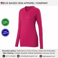 V-Neck Long Sleeve women's t-shirts with free shipping from NY warehouse