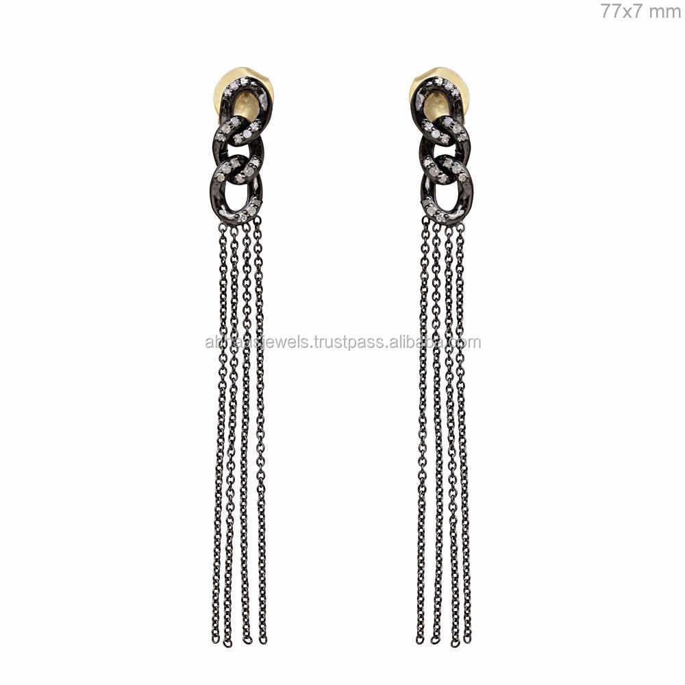 925 Sterling Silver Diamond Long Design Chandelier Earrings Buy – Black Diamond Chandelier Earrings