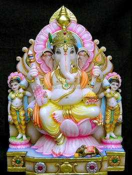 Marble Ganesha With Riddhi Siddhi Statue Buy Indian Stone