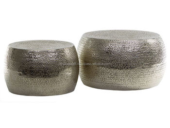 COFFEE TABLE SET / SILVER NICKEL PLATING HAMMER STOOL OR TABLE / METAL  ROUND COFFEE TABLE