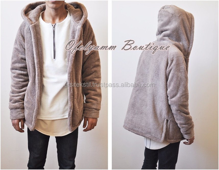 2019 Boxyfit Side Slit Ivoor Oversized Sherpa Raf Bubble Harige Hoodie Warme Sweater Winter/Trui