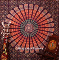 Hippie Hippy Indian Mandala Tapestry Indian Tapestry Dorm Wall Hangings Throw Cotton Fabric Bed Cover Bohemian Bed Sheet Decor