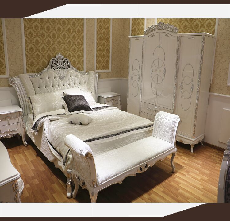 Bedroom Furniture Queen Sets white silver leaf european french bedroom furniture queen size bed