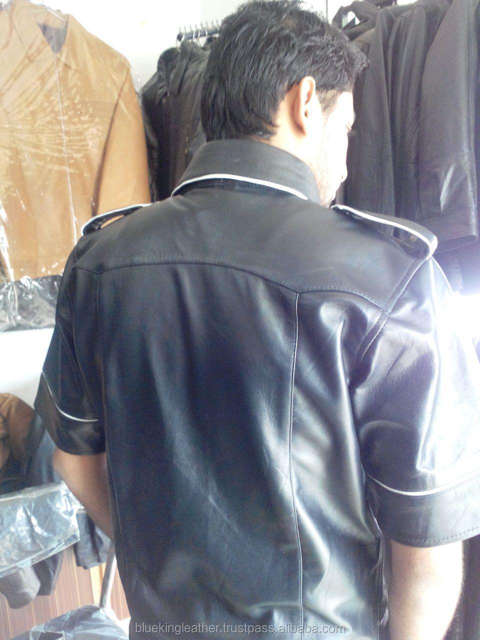 Hommes Véritable Cuir Noir Police Style Militaire Chemise Gay BLUF pleine manches