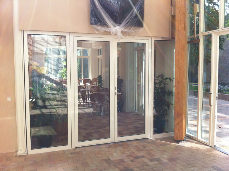 Hinged Fire Door With Partition In Aluminum And Glass