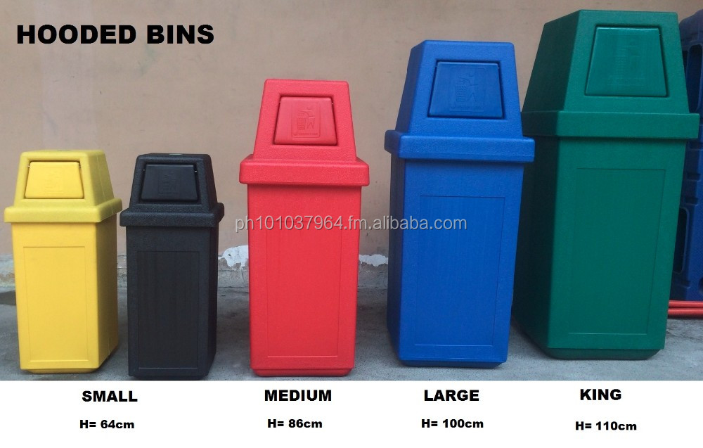 Plastic ice / cooler box, trash bin, waste segregation bins, traffic cone & road barrier