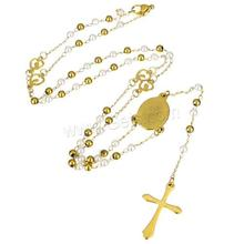 Stainless Steel cross four way crucifix cross Necklace with Plastic Pearl gold color plated plating christian catholic 1134735