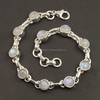 Fire Flashing Natural RAINBOW MOONSTONE Gemstones Bracelet 925 Sterling Silver