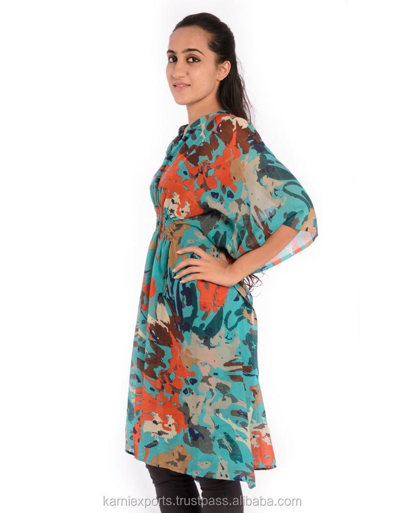 a2ae2974bec46 جذاب رائع المطبوعة رداء اللباس الصيف شاطئ المرأة القفطان تونك الأعلى ...