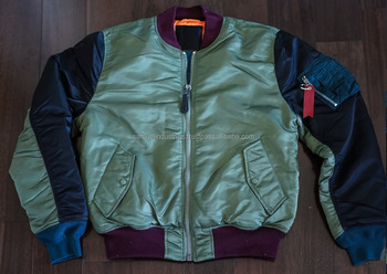Olive green tape zip technical bomber jacket with navy blue