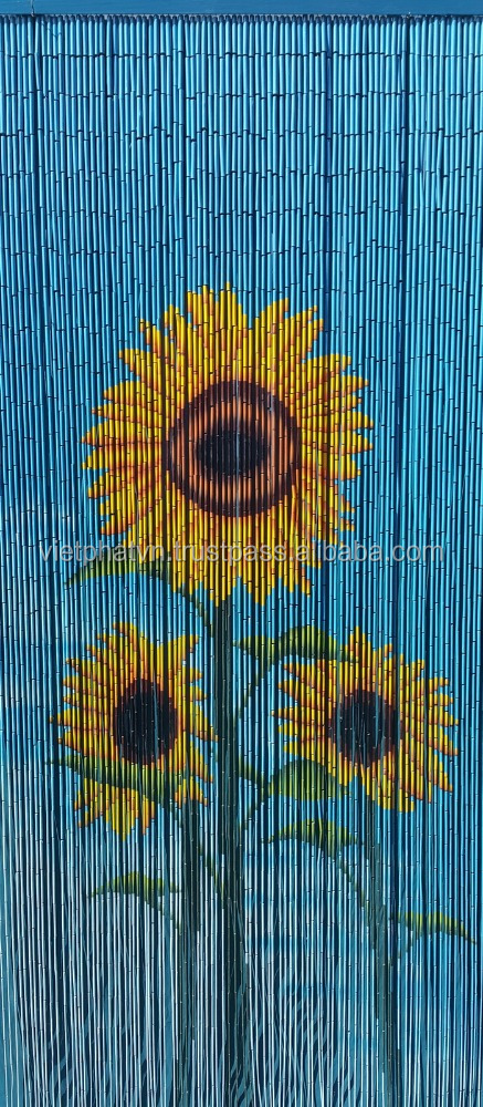 Bamboo Curtain, room divider, beaded door curtain painted by hand, Sunflower style