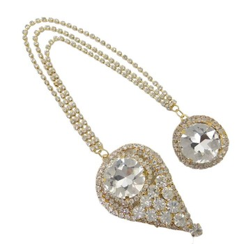 Gold Tone Cz Chain Pin Brooch Indian Wedding Men Wear Broach Costume Jewelry
