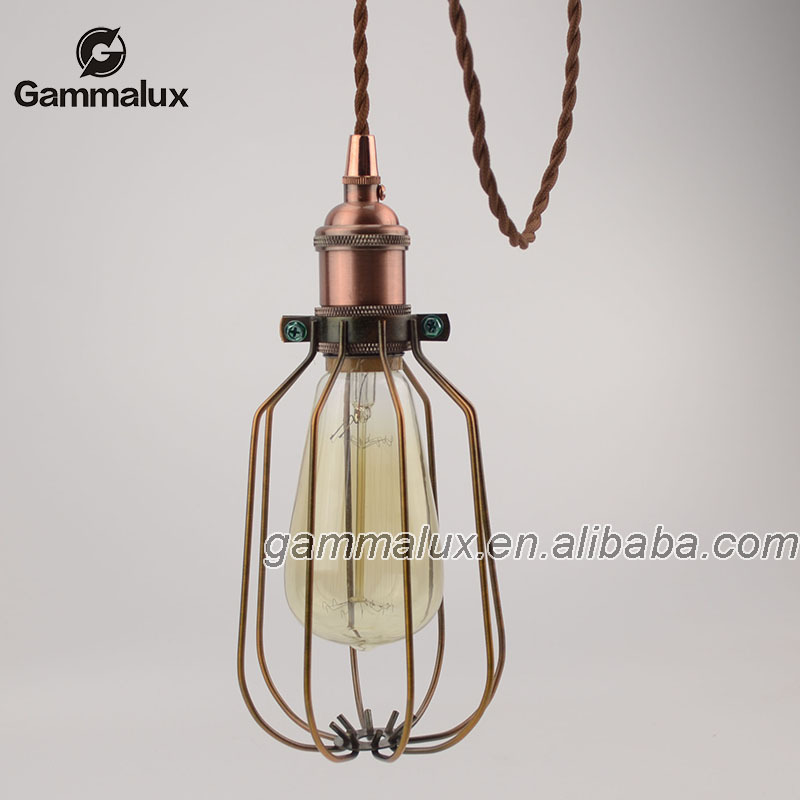Wire Cage Lamp Shade With Brass Lamp Socket/braided Wire,Pendant ...