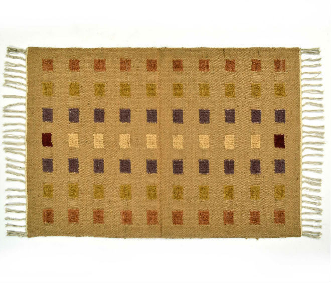 Natural Fibres Embroidered checkered Rug