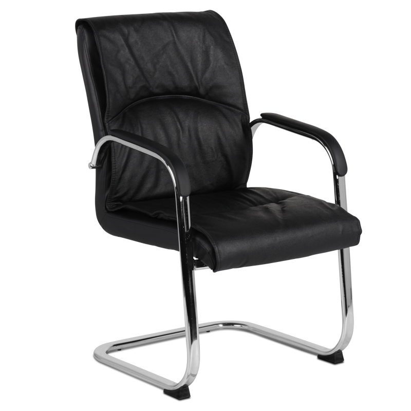 Office visitor conference chair in high quality cow leather with chrome base Carmen 8009 Black color