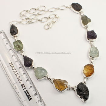 Natural MULTI-COLOR Rough Gemstones Awesome Necklace 925 Sterling Silver Jewellery ! Wholesale Price