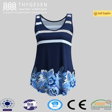 Customized printing gym zipper tank top clothing made in Vietnam for women