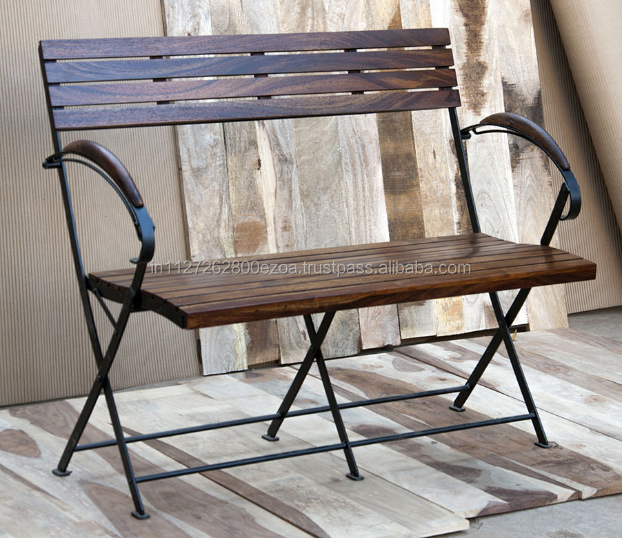 Bistro two Seater Bench folding solid wood & Iron Base