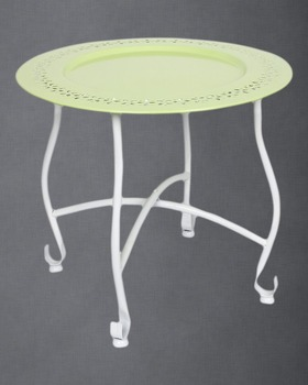 Round Green Moroccan Tray Table With Removable Plate Side Coffee Table Stand