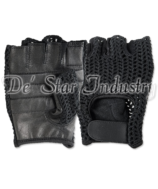 Leather Half Finger Sports Cycling Gloves