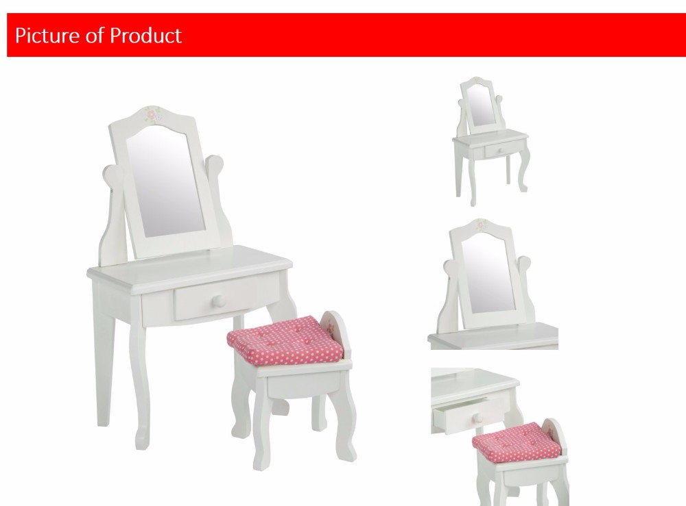 Olivia's Little World - Princess Vanity Table and Chair Set with Rotatable Mirror (White) | Wooden 18 inch Doll Furniture