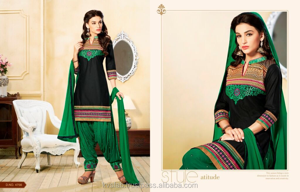 Pretty Zari Work Green N Black Cotton Designer Patiala Salwar Kameez
